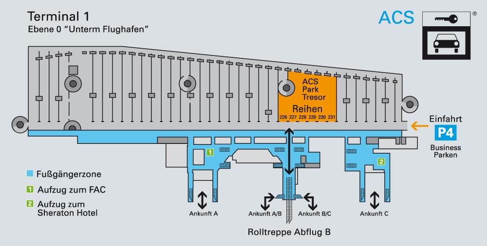 Detaillierte Anfahrtsbeschreibung zum Parken am Flughafen Frankfurt im Business Parkhaus P4 | TresorParken.de
