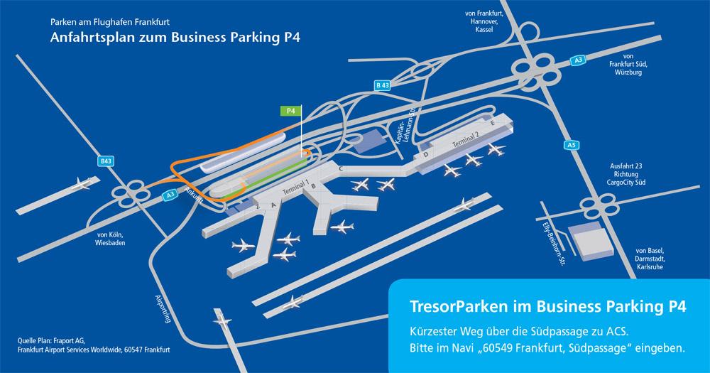 Anfahrtsplan zum Parkbereich Business P4 am Flughafen Frankfurt