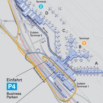 Anfahrtsbeschreibung zum Parken am Flughafen Frankfurt im Business Parkhaus P4 | TresorParken.de